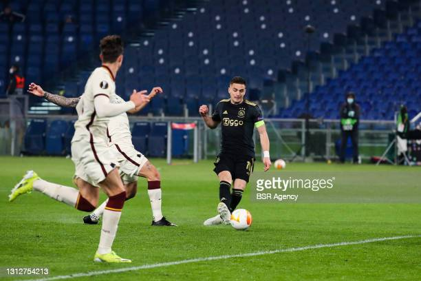 Goal by Dusan Tadic of Ajax but later reversed because of a foul by Nicolas Tagliafico of Ajax during the UEFA Europa League Quarter Final: Leg Two...