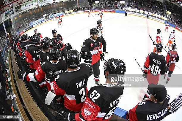 Goal celebration after JYP Jyvaskyla 30 goal in the second period during the Champions Hockey League group stage game between JYP Jyvaskyla and...