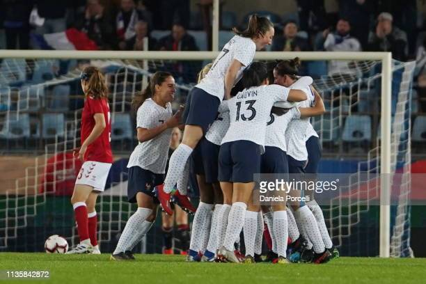 Goal celebration of France after the brace of Delphine Cascarino during the international friendly football match between France Women v Denmark...