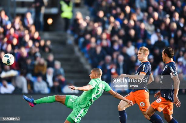 Goal for Saint Etienne by Kevin Monnet Paquet and Lukas Pokorny and Vitorino Hilton of Montpellier during the French Ligue 1 match between...