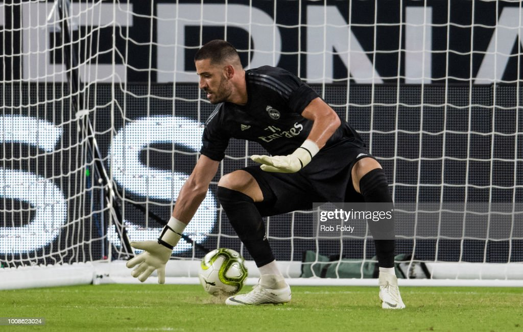 A goal is scored past Francisco Casilla #13 of Real Madrid during the first half of the International Champions Cup match against the Manchester United at Hard Rock Stadium on July 31, 2018 in Miami, Florida.