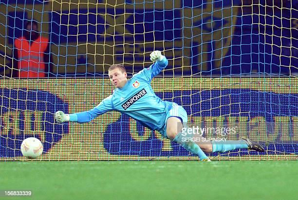 A goal is scored past goalkeeper Bernd Leno of Bayer 04 Leverkusen during the UEFA Europa League Group K football match between FC Metalist Kharkiv...
