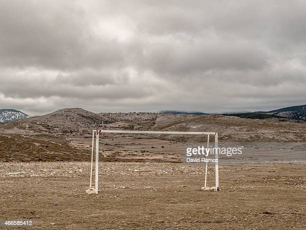 A goal is seen in the village of Motos on February 26 2015 near Molina de Aragon Spain The process of deindustrialization and depopulation that has...