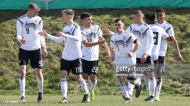 Goal Karim Adeyemi of Germany U17 celebrate during the UEFA Elite Round game between Germany U17 and Belarus U17 on March 20 2019 in IdarOberstein...