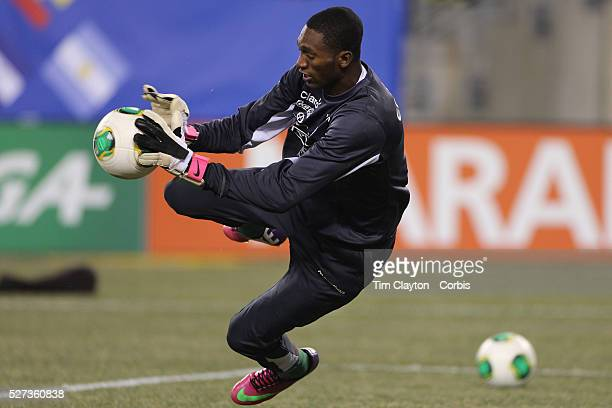 Goal keeper Alexander Dominguez Ecuador in action during warm up before the Argentina Vs Ecuador International friendly football match at MetLife...