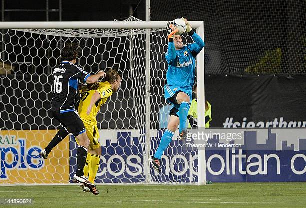 Goal Keeper Andy Gruenebaum of the Columbus Crew leaps to make a save against the San Jose Earthquakes at Buck Shaw Stadium on May 19 2012 in Santa...