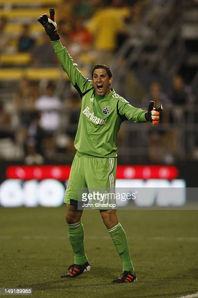 Goal Keeper Andy Gruenebaum of the Columbus Crew sets up in goal during the game against the DC United at Columbus Crew Stadium on July 21 2012 in...