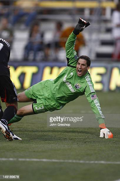 Goal Keeper Andy Gruenebaum of the Columbus Crew tracks the ball iin goal during the game against the DC United at Columbus Crew Stadium on July 21...