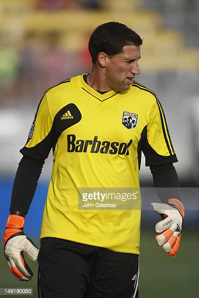 Goal Keeper Andy Gruenebaum of the Columbus Crew warms up before the start of the game between the Columbus Crew and DC United at Columbus Crew...