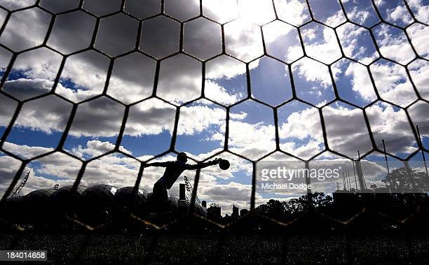 Goal keeper Ashley McGrath stops the ball during an Indigenous Australian International Rules Team training session at Gosch's Paddock on October 11,...