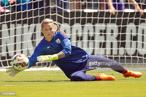 Goal keeper Ashlyn Harris of the United States warms up before an international friendly match against Ireland on May 10 2015 at Avaya Stadium in San...