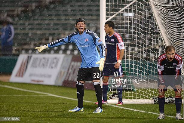 Goal Keeper Bobby Shuttleworth of the New England Revolution positions his teammates prior to a corner kick against the Real Salt Lake at Kino Sports...