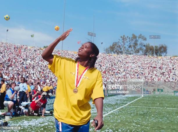Goal keeper Briana Scurry of the USA Women's National Team waves to the crowd following the medal ceremony of the 1999 FIFA Women's World Cup soccer...