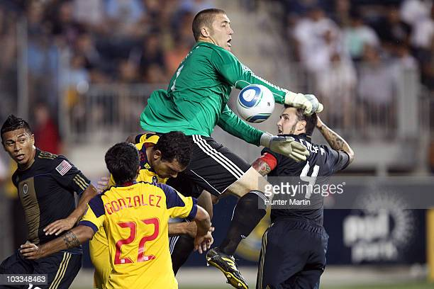 Goal keeper Chris Seitz of the Philadelphia Union makes a save during a game against Real Salt Lake at PPL Park on August 11, 2010 in Chester,...