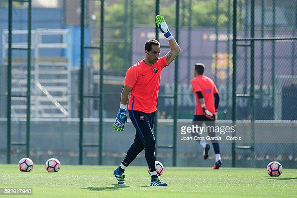 Goal keeper Claudio Bravo attends a training session at the Sports Center FC Barcelona Joan Gamper before the first Spanish League match between...