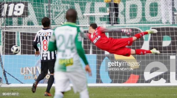 Goal keeper Cleiton of Brazilian club Atletico Mineiro cannot stop a kick for a second half goal by Jeison Lucumi of Colombian side Atletico Nacional...