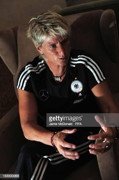 Goal keeper coach Silke Rottenberg talks to FIFAcom at the Sheraton Hotel on October 3 2012 in Baku Azerbaijan