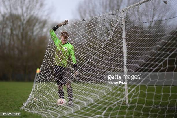 Goal keeper collects the ball after conceding a goal during Sunday league football between Syston Brookside FC and Shepshed Oaks FC on March 15, 2020...