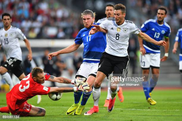 Goal keeper Elia Benedettini and Juri Biordi of San Marino compete with Leon Goretzka of Germany for the ball during the FIFA 2018 World Cup...