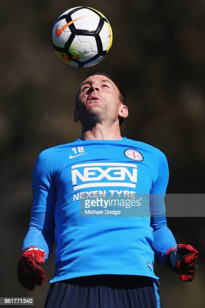 Goal Keeper Eugene Galekovic heads the ball during a Melbourne City ALeague training session on October 16 2017 in Melbourne Australia