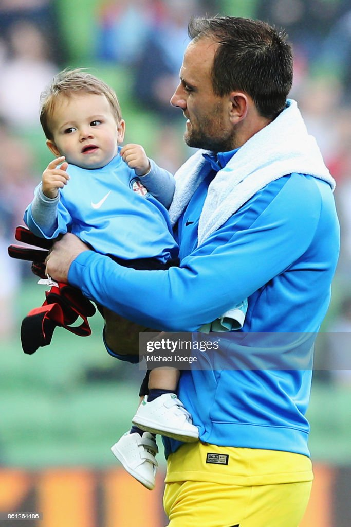 Goal Keeper Eugene Galekovic of the City enters the arena with his son during the round three A-League match between Melbourne City and the Wellington Phoenix at AAMI Park on October 21, 2017 in Melbourne, Australia.