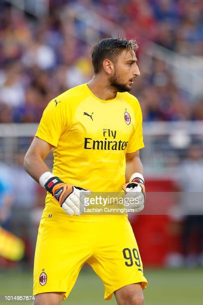 Goal keeper Gianluigi Donnarumma of AC Milan looks on during the International Champions Cup match against FC Barcelona at Levi's Stadium on August 4...