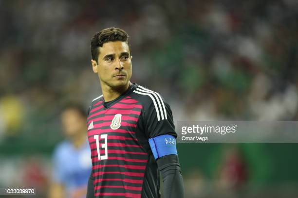 Goal Keeper Guillermo Ochoa of Mexico watches the stands during the International Friendly match between Mexico and Uruguay at NRG Stadium on...