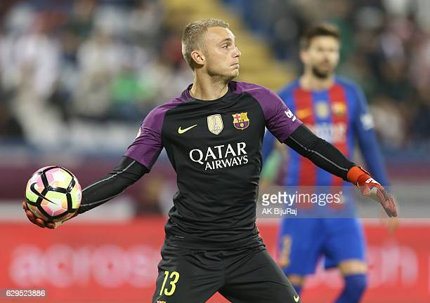 Goal keeper Jasper Cillessen of Barcelona in action during the Qatar Airways Cup match between FC Barcelona and AlAhli Saudi FC on December 13 2016...