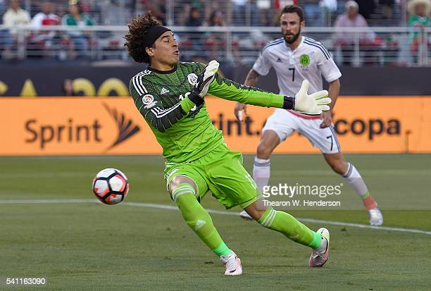 Goal keeper Jesus Corona of Mexico lets the ball get by him for a goal scored by Eduardo Vargas of Chile during the 2016 Copa America Centenario...