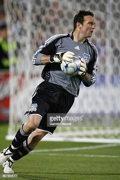 Goal keeper Joe Cannon of the San Jose Earthquakes controls the ball during the MLS game against the Colorado Rapids on April 19 2008 at Dicks...