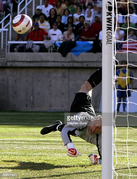 Goal keeper Kasey Keller of the USA makes a save against Costa Rica in their CONCACAF World Cup qualifying match on June 4 2005 at RiceEccles Stadium...