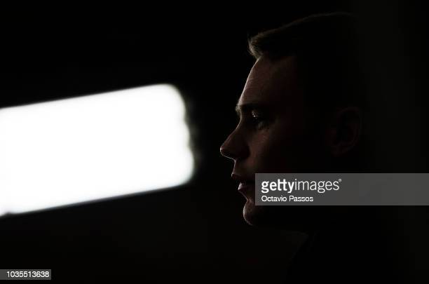 Goal keeper Manuel Neuer of FC Bayern Muenchen answers to the media during the press conference prior the Group E match of the UEFA Champions League...