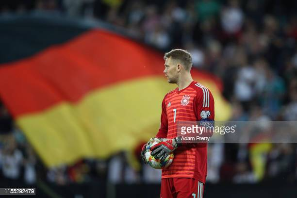 Goal keeper Manuel Neuer of Germany looks on during the UEFA Euro 2020 Qualifier match between Germany and Estonia at Opel Arena on June 11 2019 in...
