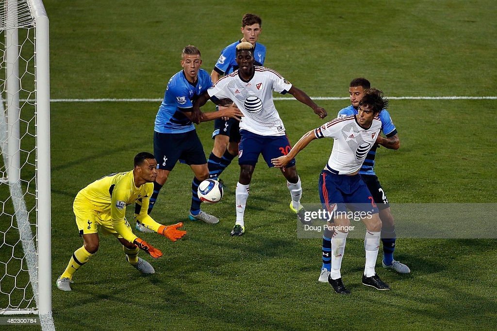 Goal keeper Michel Vorm #13 of Tottenham Hotspur collects the ball as he makes a save against the MLS All-Stars during the 2015 AT&T Major League Soccer All-Star game at Dick's Sporting Goods Park on July 29, 2015 in Commerce City, Colorado.