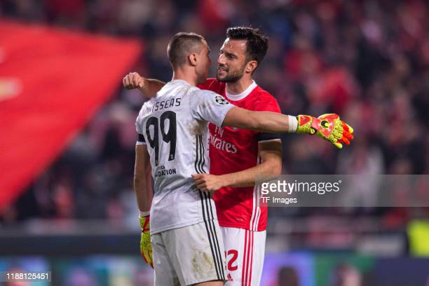 Goal Keeper odisseas Vlachodimos of SL Benfica and Andreas Samaris of SL Benfica celebrate the victory during the UEFA Champions League group G match...