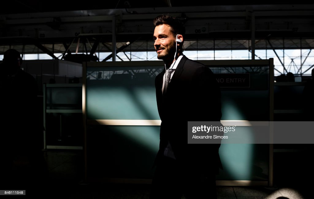 Goal keeper Roman Buerki of Borussia Dortmund after landing in London for the UEFA Champions League: First Qualifying Round 1st Leg match between Tottenham Hotspur and Borussia Dortmund at London Airport on September 12, 2017 in London, England.