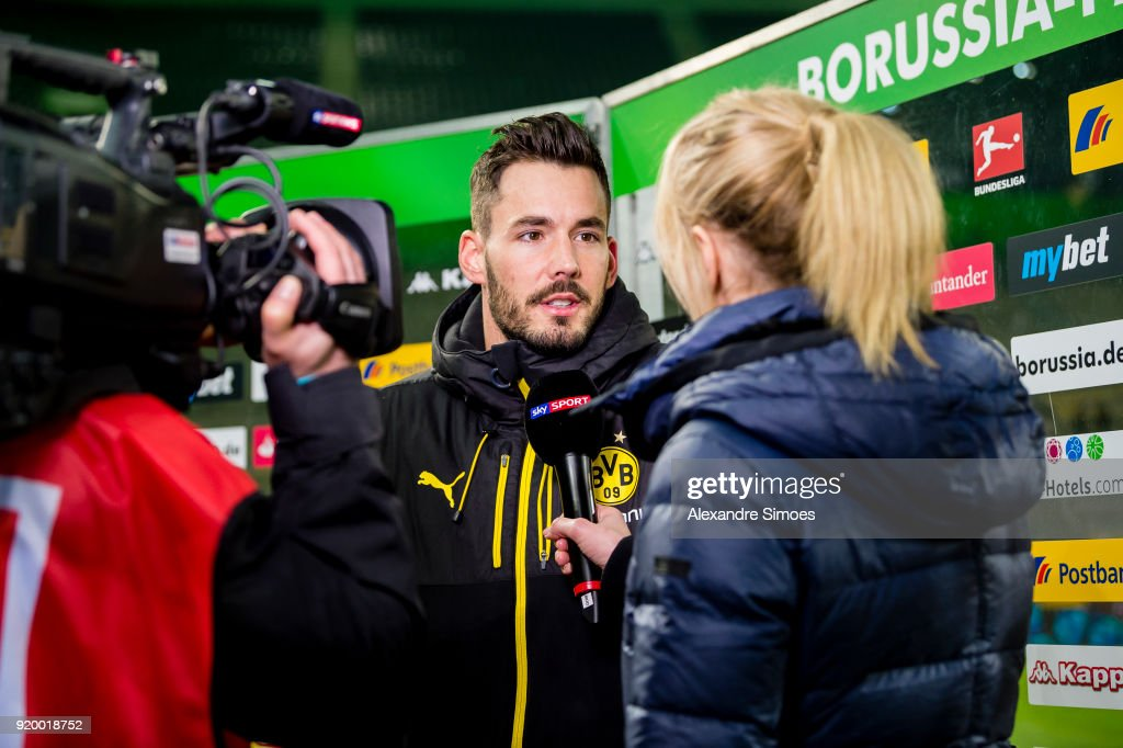 Goal keeper Roman Buerki of Borussia Dortmund gives an interview after the final whistle during the Bundesliga match between Borussia Moenchengladbach and Borussia Dortmund at the Borussia-Park on February 18, 2018 in Moenchengladbach, Germany.