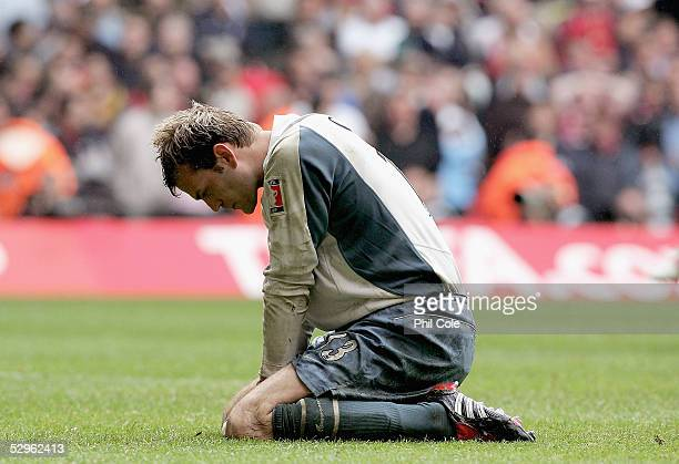 Goal keeper, Roy Carroll of Manchester United is dejected after losing the FA Cup Final between Arsenal and Manchester United 5-4 on penalties at The...
