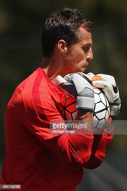 Goal Keeper Thomas Sorensen of the City catches the ball during the Melbourne City FC ALeague training session at La Trobe University Sports Fields...