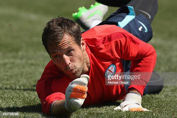 Goal Keeper Thomas Sorensen of the City dives for the ball during the Melbourne City FC ALeague training session at La Trobe University Sports Fields...