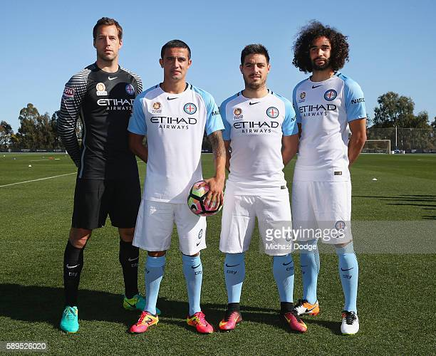 Goal Keeper Thomas Sorensen Tim Cahill Bruno Fornaroli and Osama Malik pose during a Melbourne City ALeague press conference at La Trobe University...