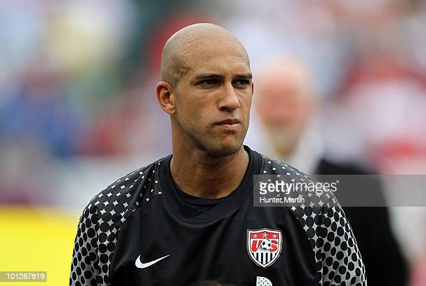 Goal keeper Tim Howard of the United States stands during the National Anthem before a preWorld Cup warmup match against Turkey at Lincoln Financial...