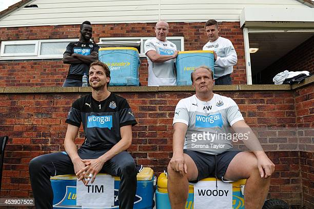 Goal Keeper Tim Krul and Goal Keeping Coach Andy Woodman undertakes the 'Ice Bucket Challenge' with Masseurs Wayne Farrage and Mick Holland standing...