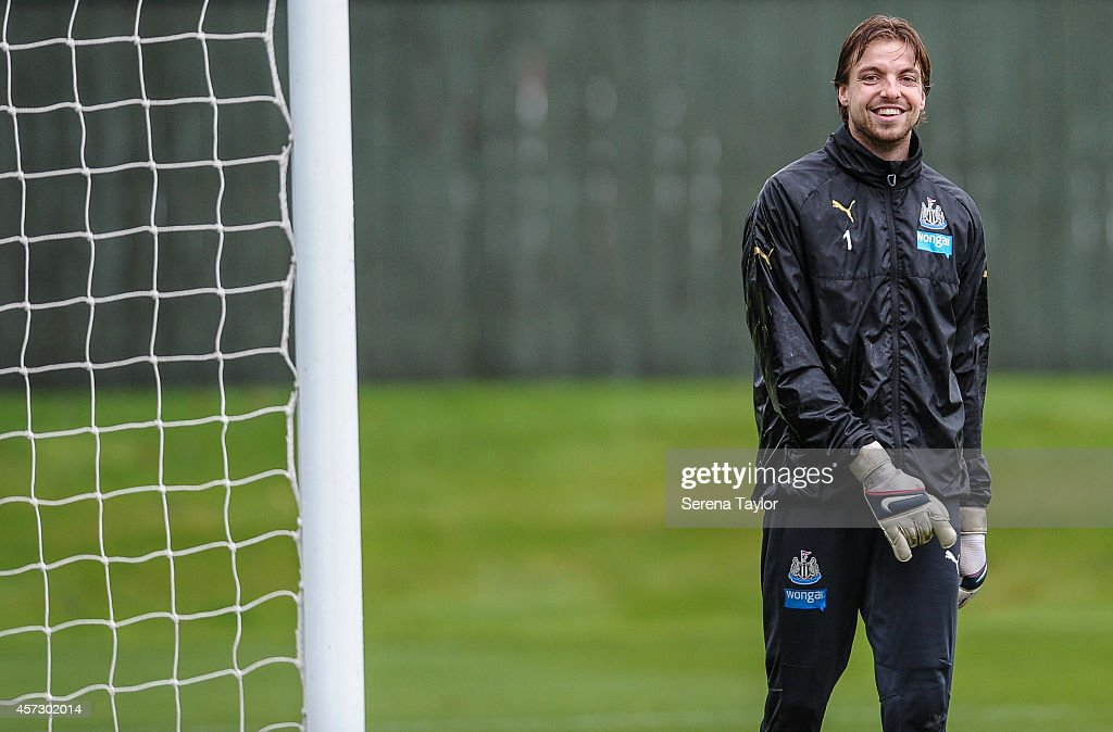 Goal Keeper Tim Krul smiles during a training session at The Newcastle United Training Centre on October 16, 2014, in Newcastle upon Tyne, England.