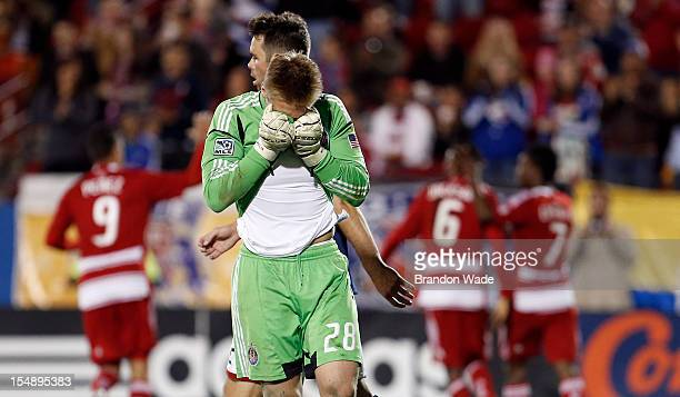 Goal keeper Tim Melia of Chivas USA reacts after giving up a goal to Jackson of FC Dallas during the second half of a soccer game at Pizza Hut Park...