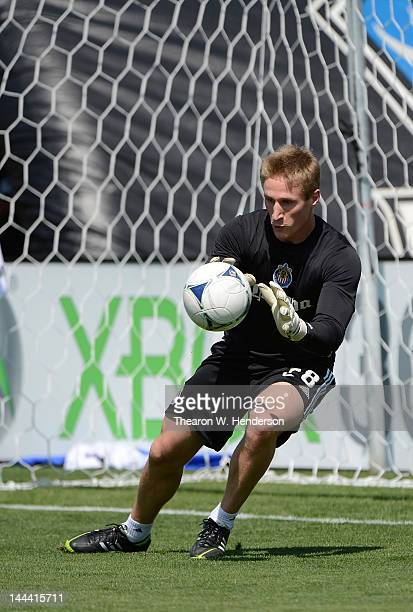 Goal Keeper Tim Melia of Chivas USA warms up before their game against the San Jose Earthquakes at Buck Shaw Stadium on May 13 2012 in Santa Clara...