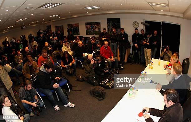 Goal keeper Timo Hildebrand attends the press conference at the 1899 TSG Hoffenheim training facility on December 10 2008 in Hoffenheim Germany...