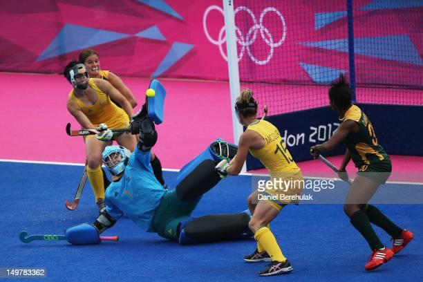 Goal keeper Toni Cronk of Australia makes asave during the Women's Hockey match between Australia and South Africa on Day 8 of the London 2012...