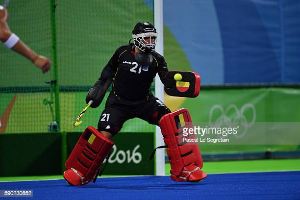Goal keeper Vincent Vanasch of Belgium stops the ball during the Men's semifinal hockey match Belgium vs Netherlands at the Olympic Hockey centre on...