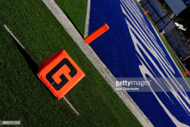 A goal line marker sits on the southern end of the field before the Missouri Valley Conference game between the North Dakota State University Bison...